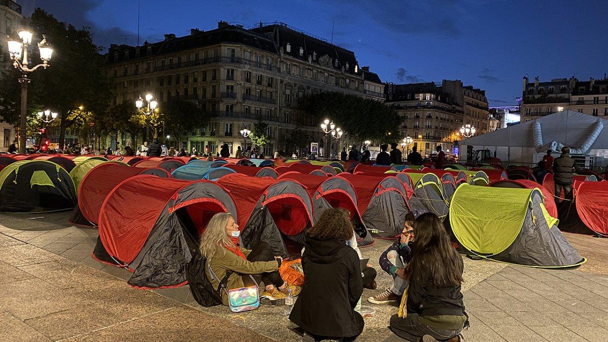 Fransa da göçmenler çadır kurdu #3