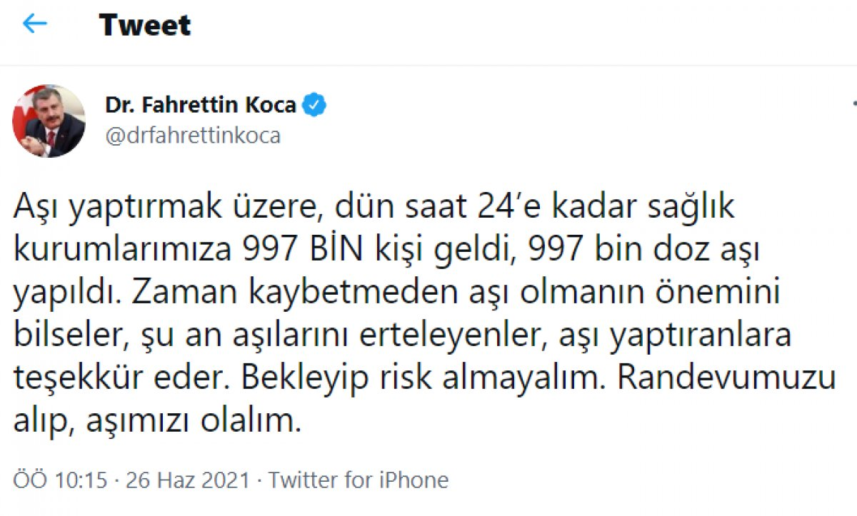 Fahrettin Koca: Dün kurumlarımıza aşı yaptırmak için 997 bin kişi geldi #1