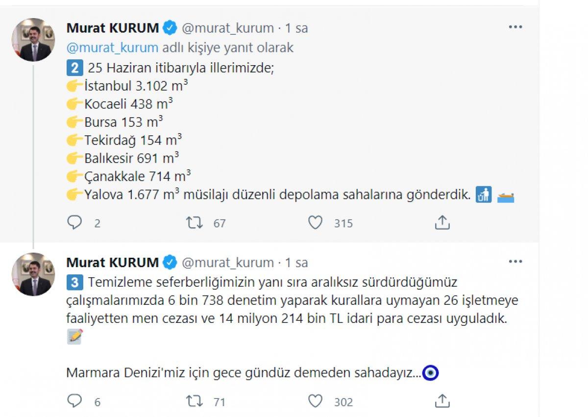 Murat Kurum, toplanan müsilaj miktarını açıkladı  #3