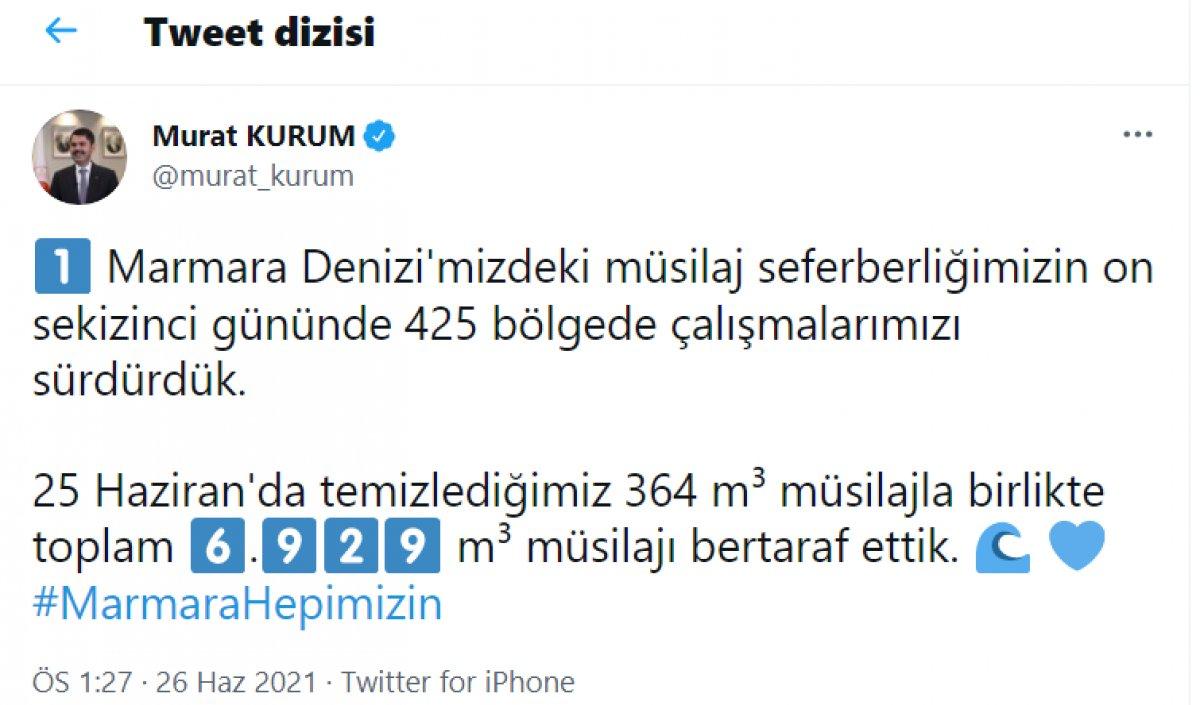 Murat Kurum, toplanan müsilaj miktarını açıkladı  #2
