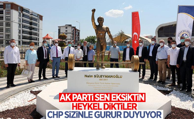 Edirne'deki yeni parka, Naim Süleymanoğlu heykeli yapıldı