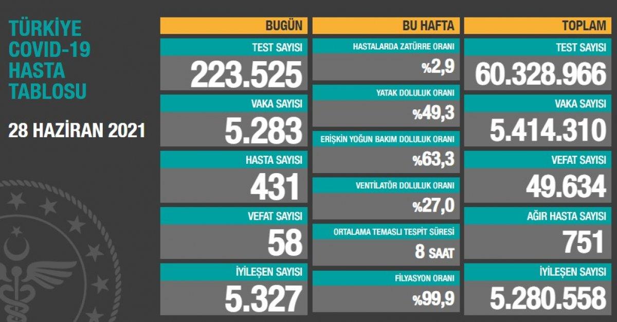28 Haziran Türkiye de koronavirüs tablosu #1