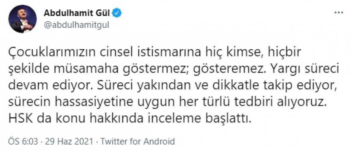 Abdülhamit Gül den çocuklara istismar davasıyla ilgili açıklama #1