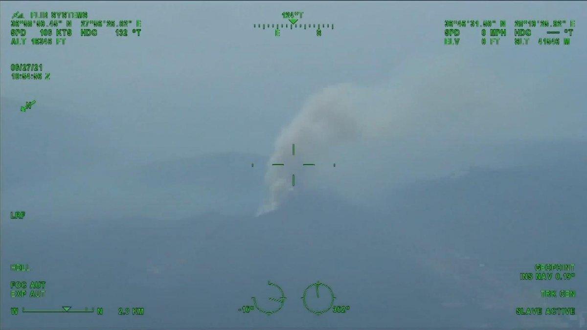 Marmaris teki orman yangınını İHA tespit etti #5