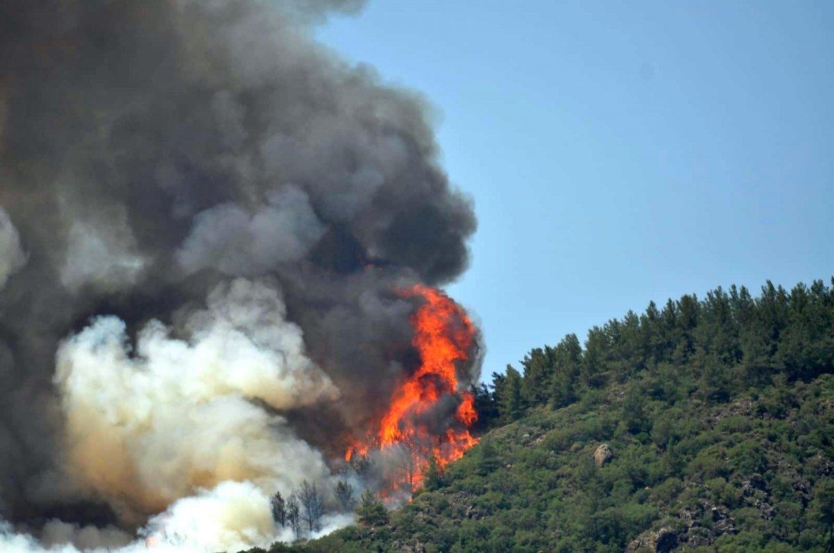 Marmaris teki orman yangınını İHA tespit etti #13