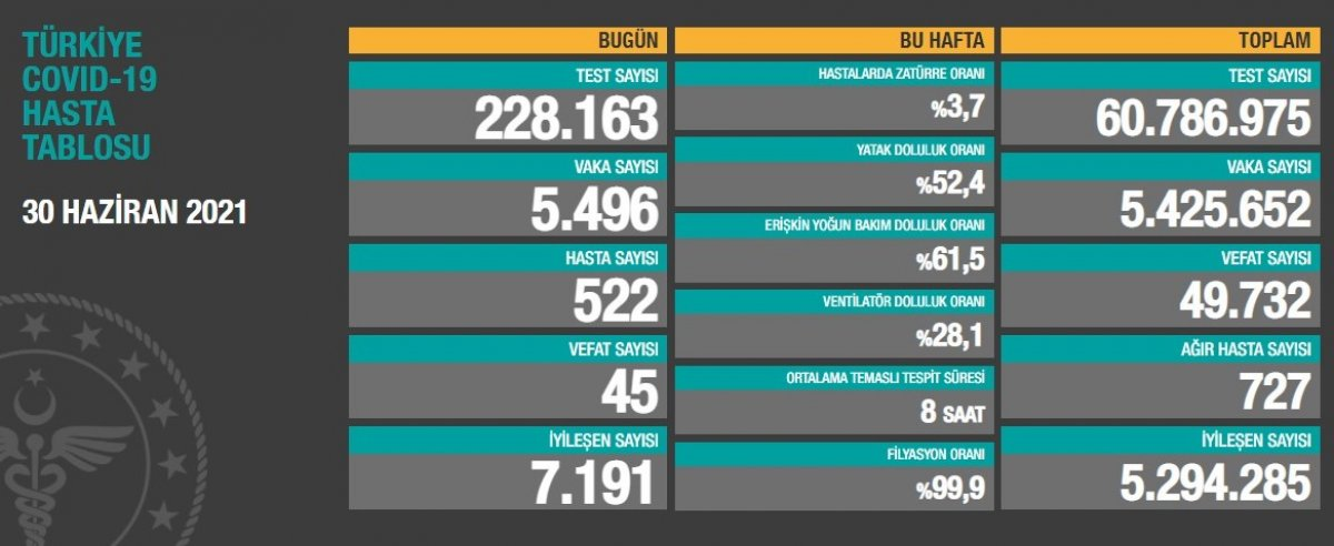30 Haziran Türkiye de koronavirüs tablosu #1