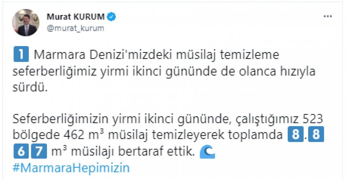 Murat Kurum: 22 günde 8 bin 867 metreküp müsilaj temizlendi #4