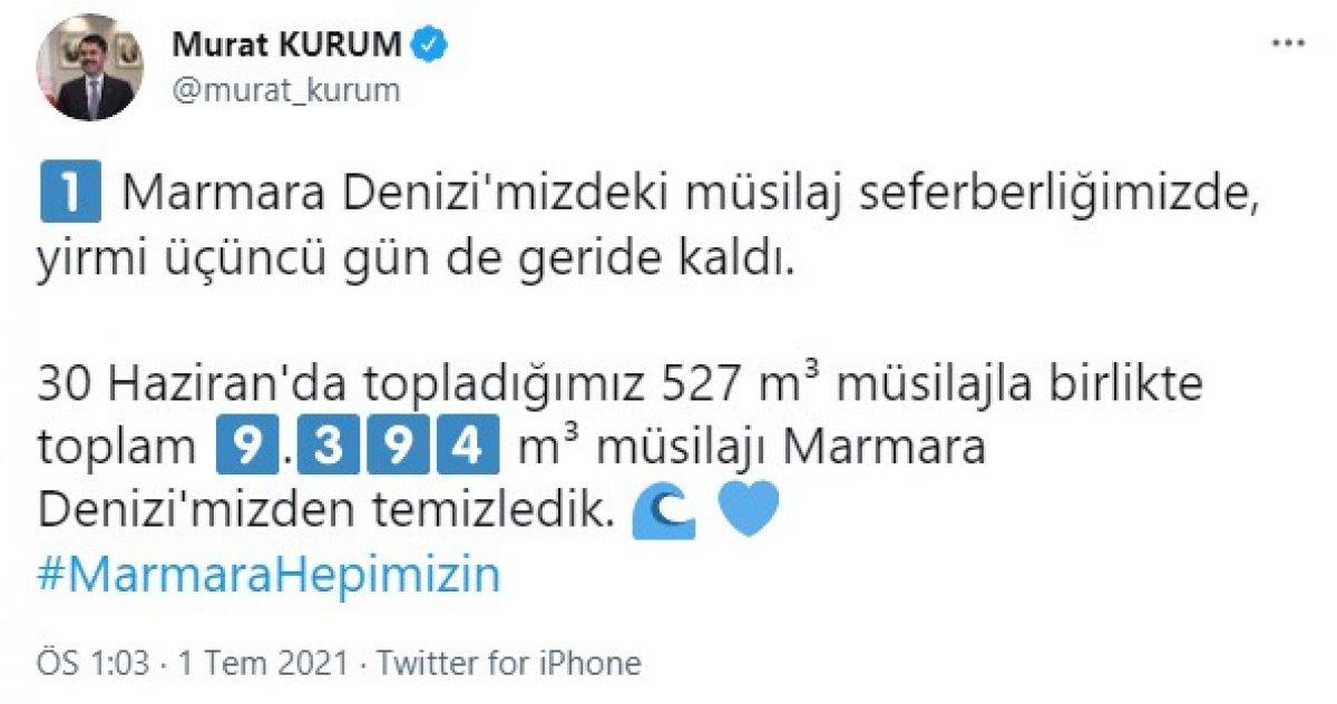 Murat Kurum: 9 bin 394 metreküp müsilaj temizlendi #1