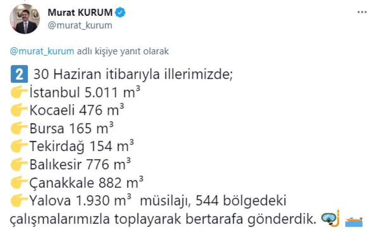 Murat Kurum: 9 bin 394 metreküp müsilaj temizlendi #2
