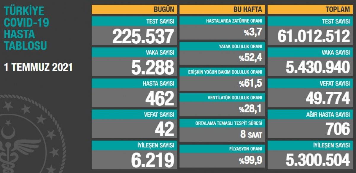 1 Temmuz Türkiye de koronavirüs tablosu #1
