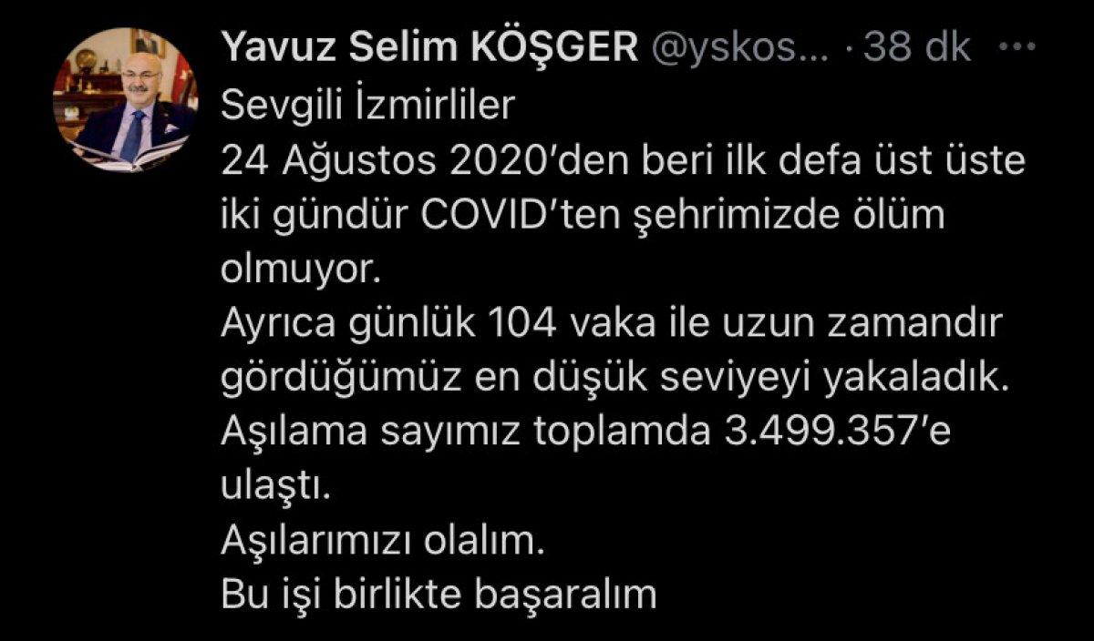 İzmir Valisi Yavuz Selim Köşger: Kentte iki gündür koronavirüs kaynaklı ölüm yok #1