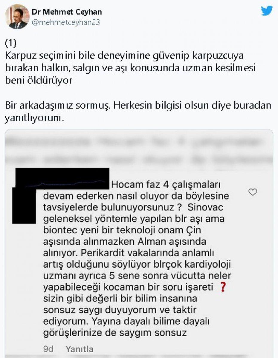 Mehmet Ceyhan: İki cahilin yazısıyla aşı hakkında fikir sahibi olmayın #2