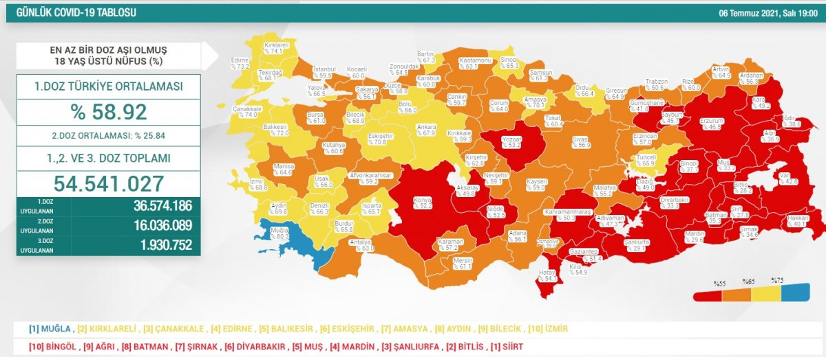 6 Temmuz Türkiye de koronavirüs tablosu ve aşı haritası  #1