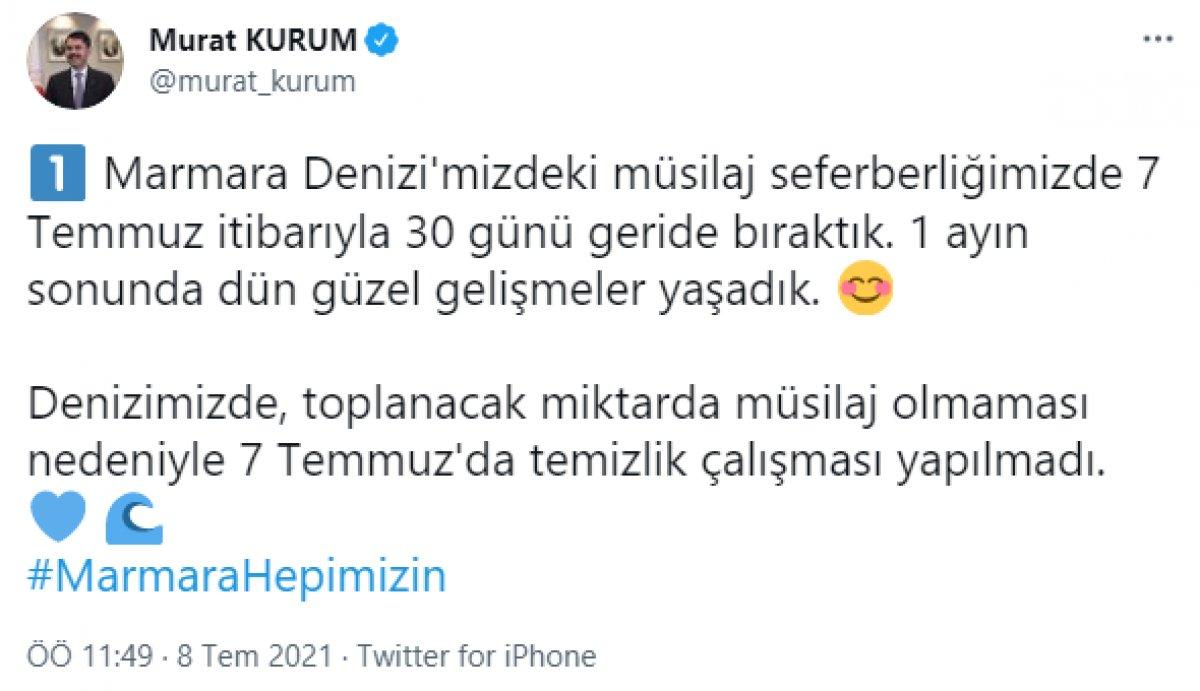 Murat Kurum: Denizimizde toplanacak miktarda müsilaj kalmadı #3