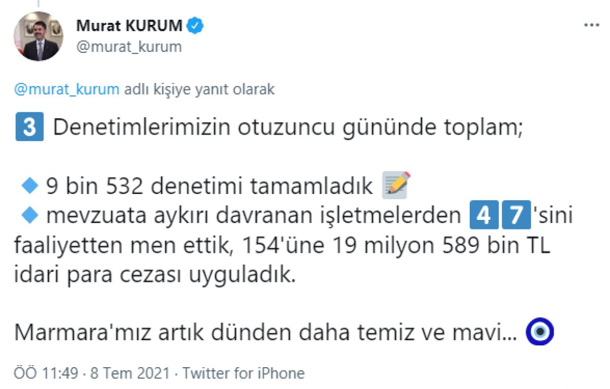 Murat Kurum: Denizimizde toplanacak miktarda müsilaj kalmadı #5
