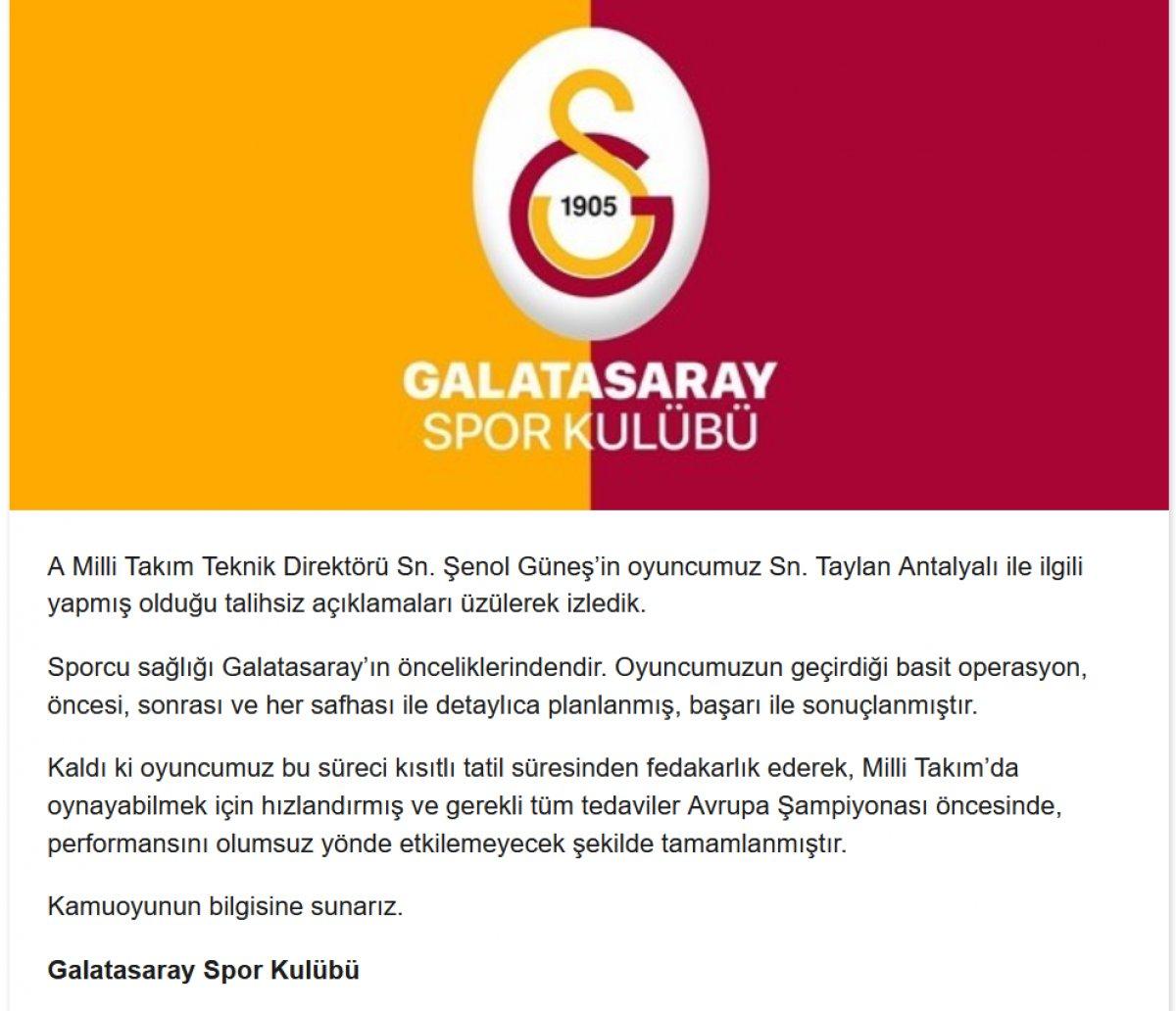 Galatasaray dan Şenol Güneş e Taylan cevabı #2
