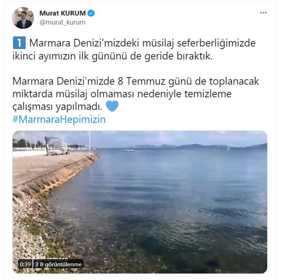 Murat Kurum: Toplanacak müsilaj kalmadığı için temizlik yapılmadı #1