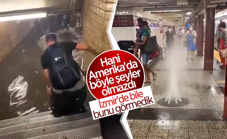 Aşırı yağışlar sonucu altyapısı çöken New York metrosunu su bastı