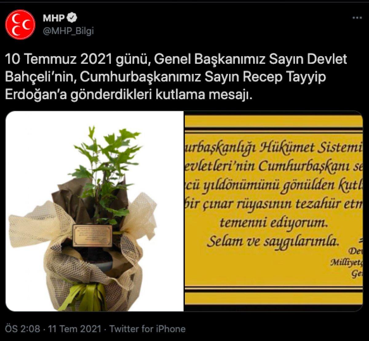 Devlet Bahçeli den Cumhurbaşkanı Erdoğan a yıl dönümü fidanı #3