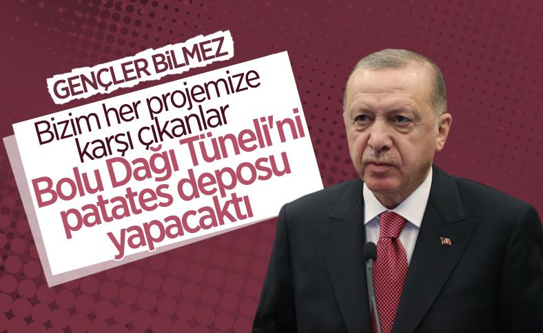 Cumhurbaşkanı Erdoğan: Patates deposu yapılması tartışılan tüneli rekor sürede açtık