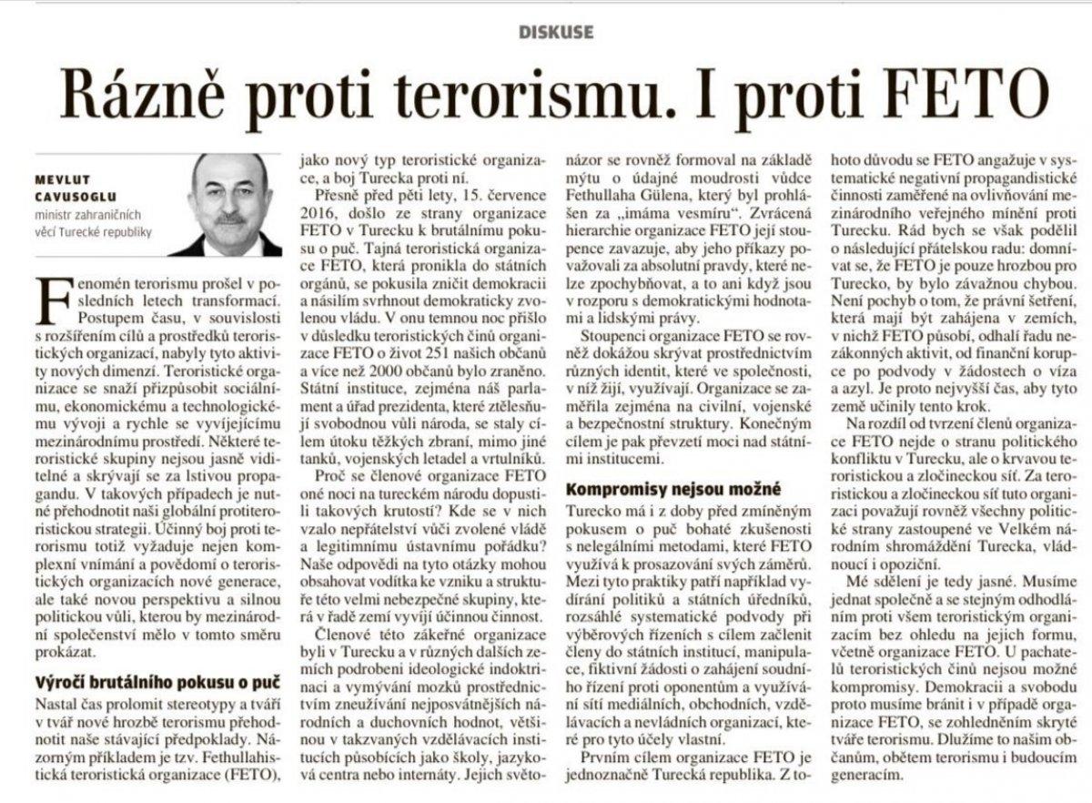 Mevlüt Çavuşoğlu nun darbe girişimi makalesi Çekya gazetesinde #1