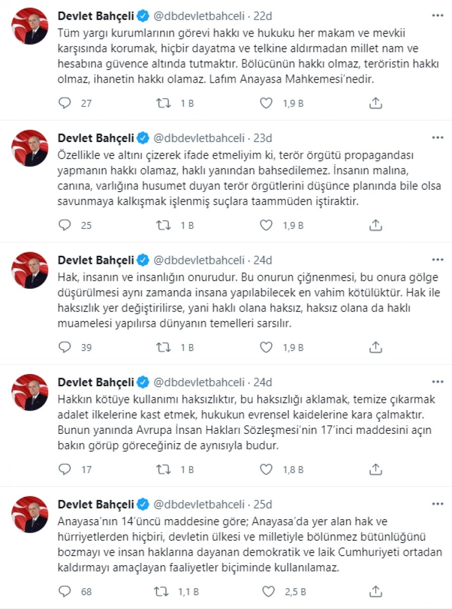 Devlet Bahçeli: AYM nin Gergerlioğlu kararı, terörizme destektir #1