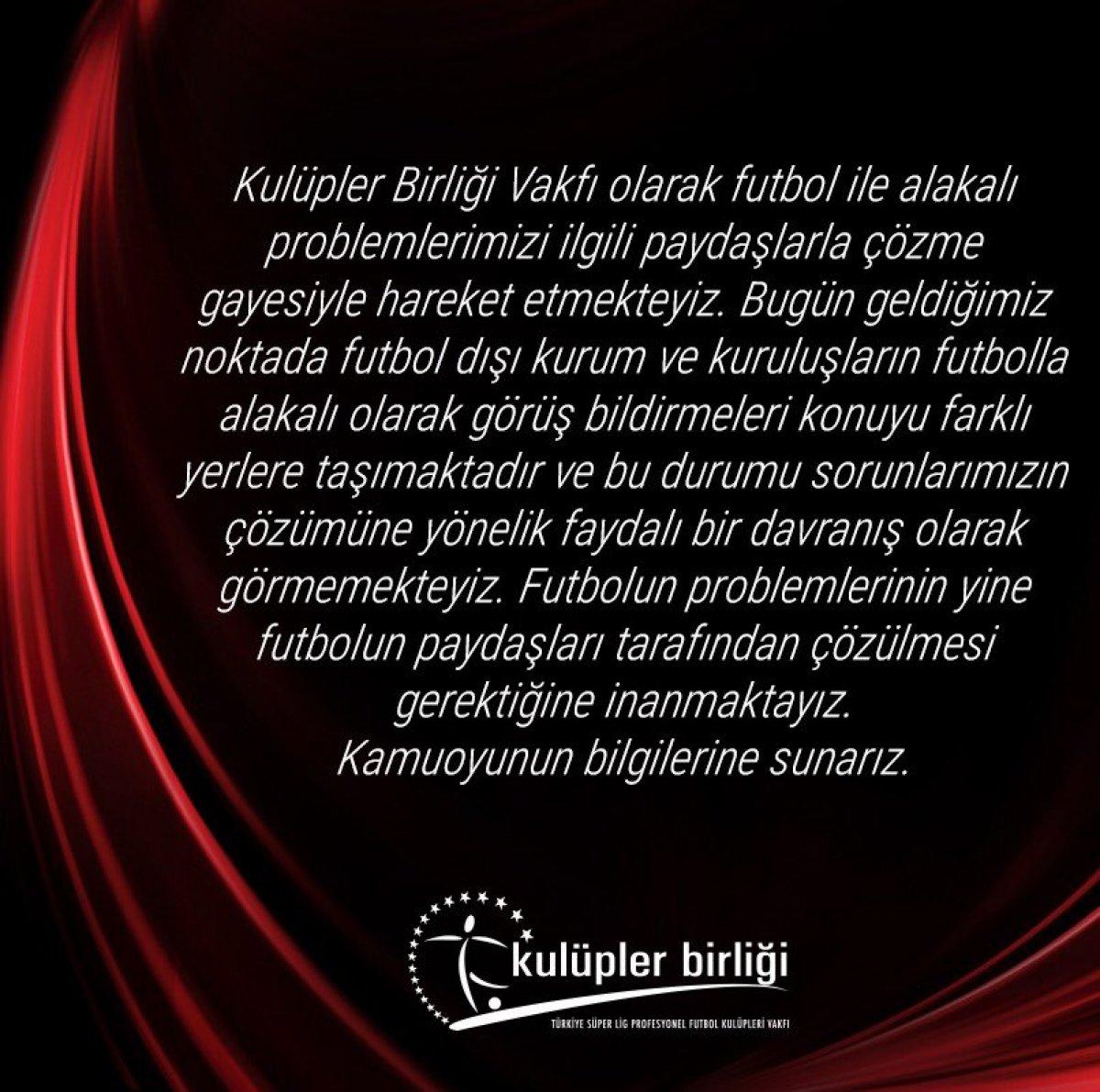 Kulüpler Birliği nden Kılıçdaroğlu na yanıt: Futbolun paydaşları tarafından çözülmeli #2