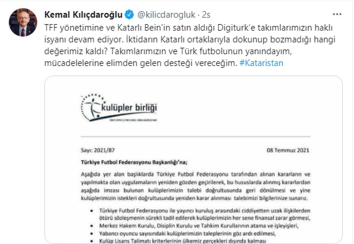 Kulüpler Birliği nden Kılıçdaroğlu na yanıt: Futbolun paydaşları tarafından çözülmeli #1