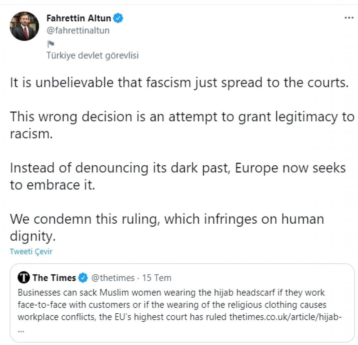 Fahrettin Altun: Faşizm mahkemelere sıçradı #1