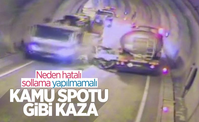 Artvin'de tünelde kaza yapan araç, paramparça oldu