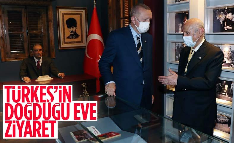 Erdoğan ve Bahçeli, Alparslan Türkeş'in doğduğu evi ziyaret etti