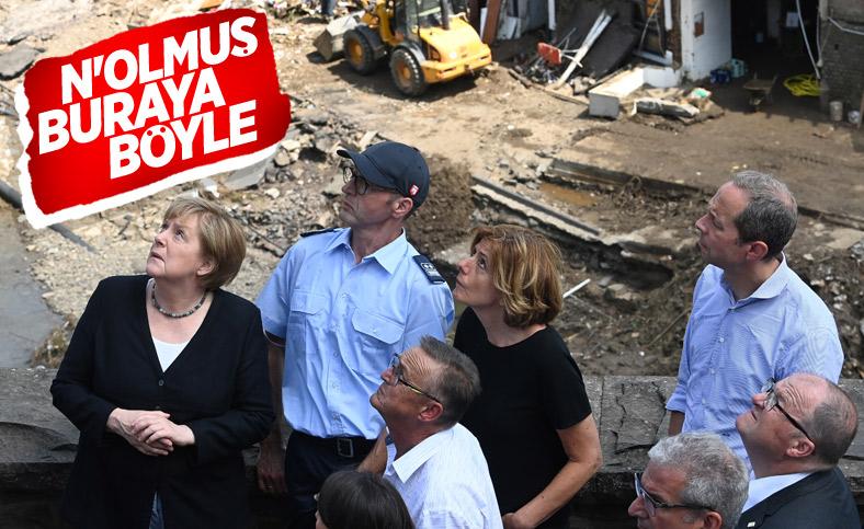 Angela Merkel, afet bölgesini inceledi
