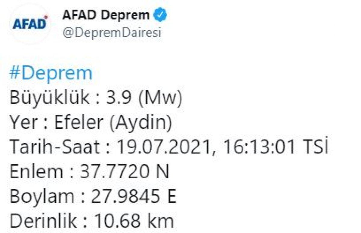 Aydın'da 3.9 büyüklüğünde deprem #1