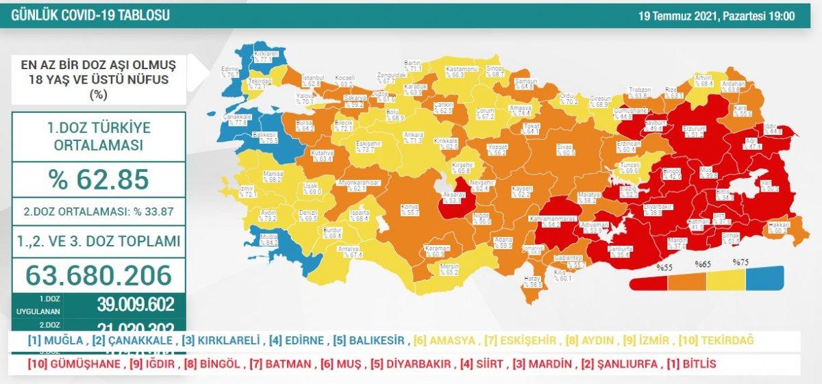 19 Temmuz Türkiye de koronavirüs tablosu  #2