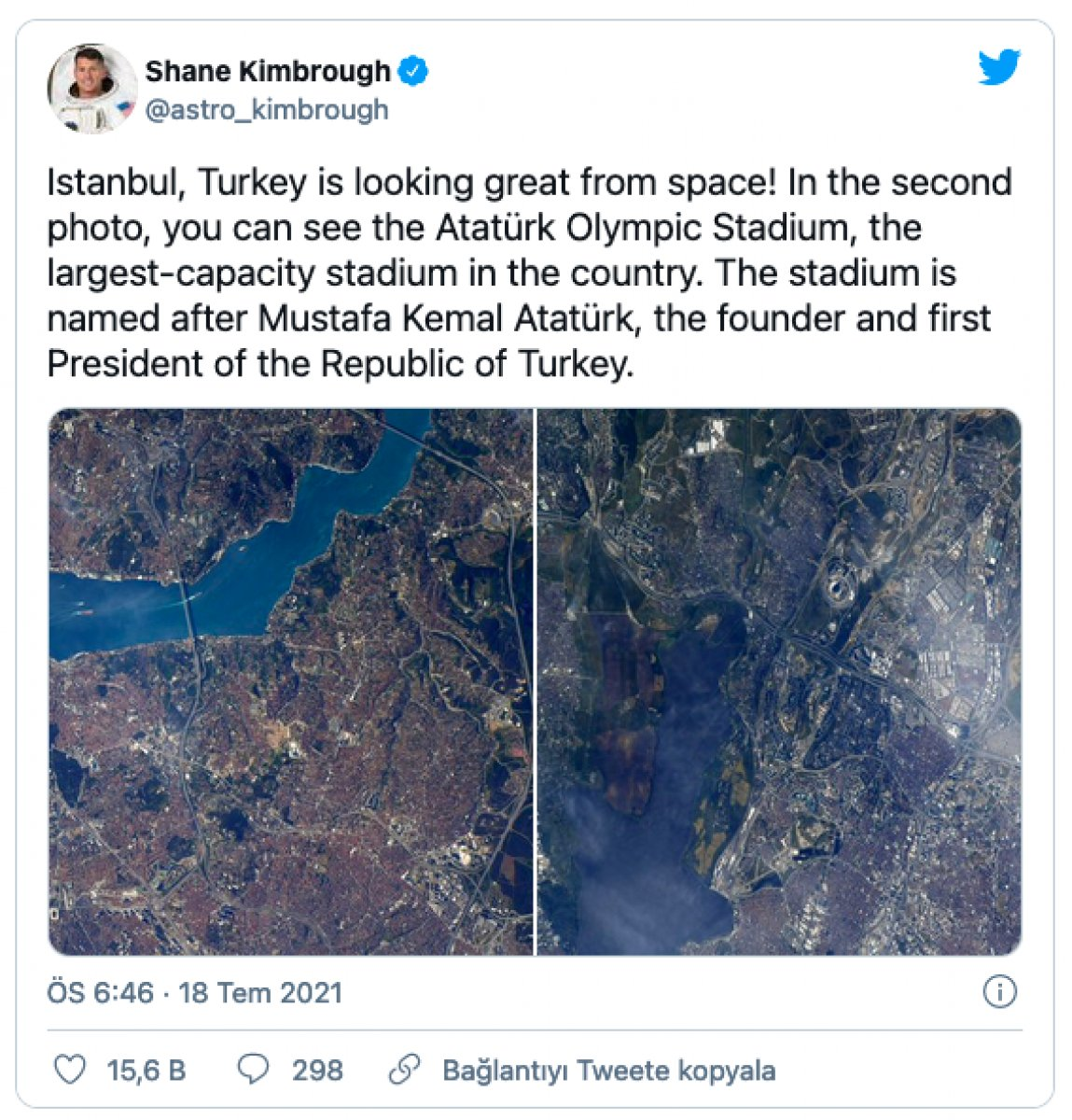 ABD li astronotun Türkiye paylaşımı #2