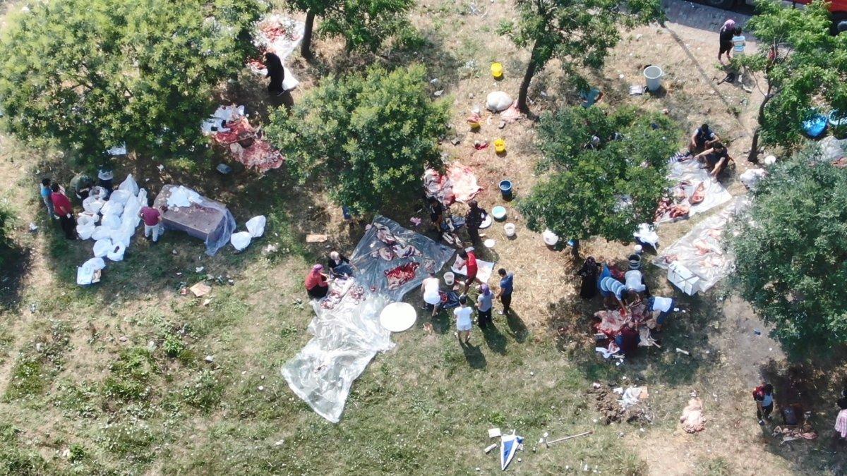 İstanbul da uyarı afişinin altında kurban kestiler #4