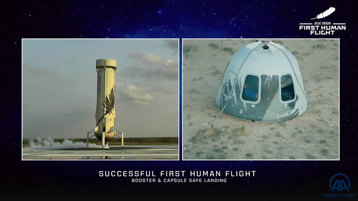 Jeff Bezos ve beraberindeki mürettebatı taşıyan araç uzaya fırlatıldı #8