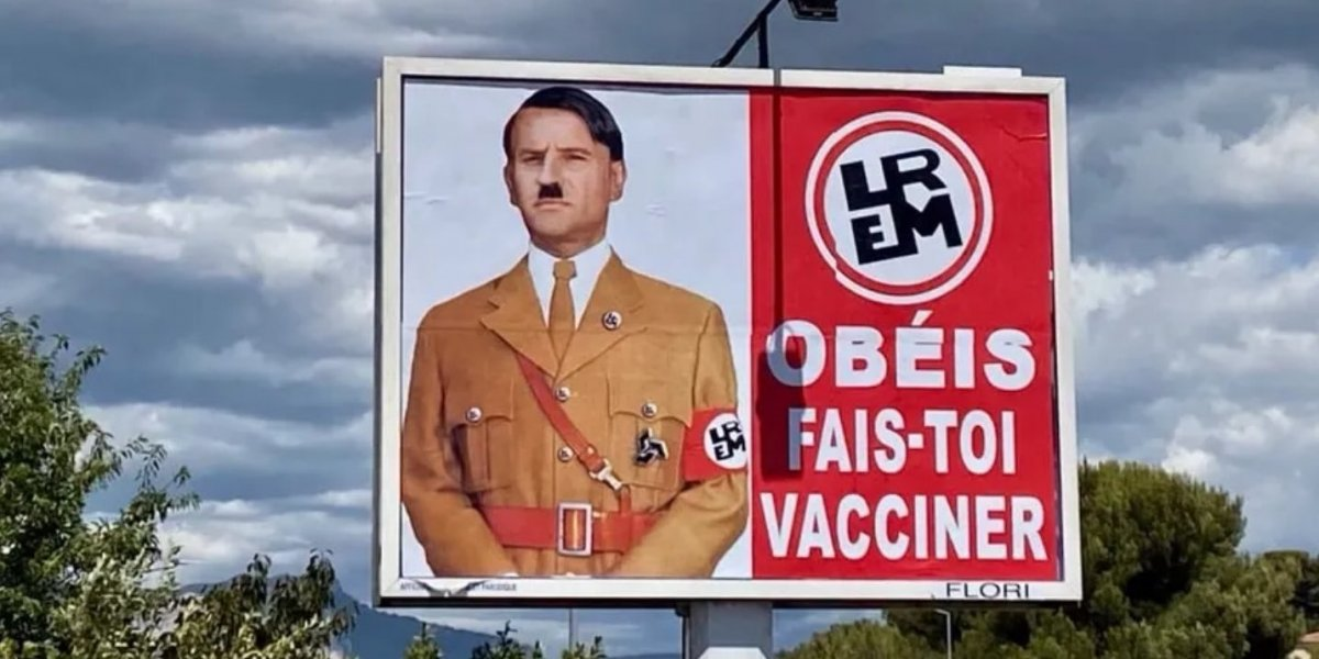 Emmanuel Macron'u Hitler'e benzeten afişlerle soruşturma #1