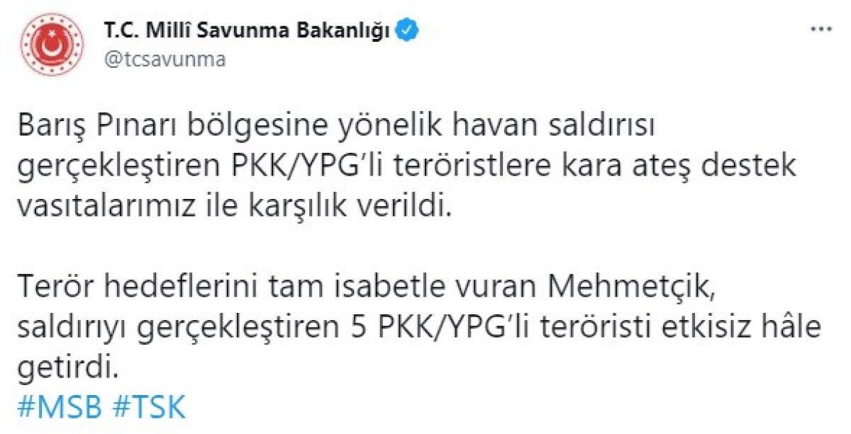 Barış Pınarı bölgesinde 5 terörist etkisiz hale getirildi #1
