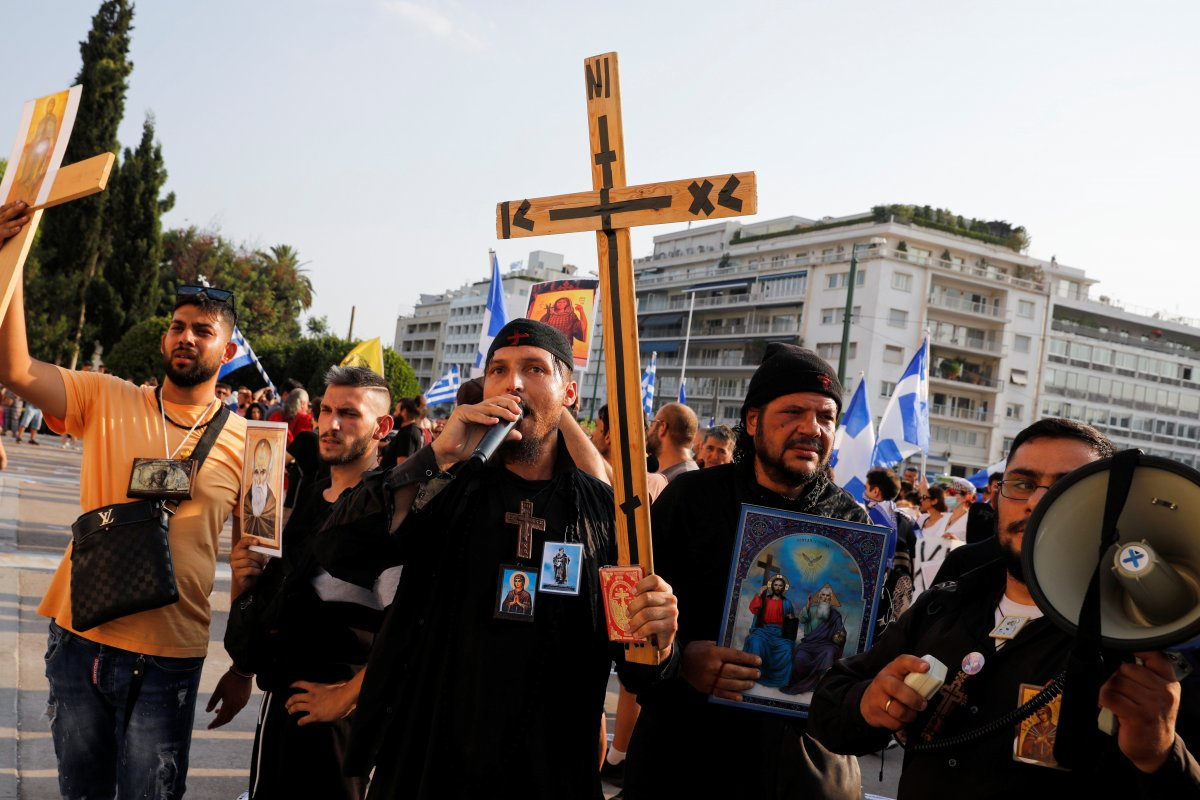 Yunanistan da zorunlu aşı karşıtları sokağa indi #4