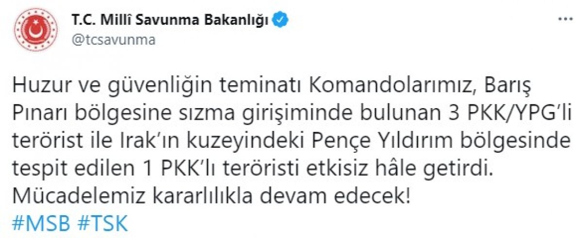 Barış Pınarı - Pençe Yıldırım bölgelerinde 4 terörist etkisiz hale getirildi #1