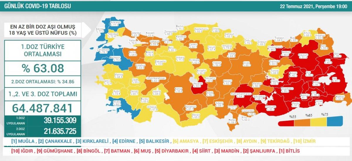 22 Temmuz Türkiye de koronavirüs tablosu #1
