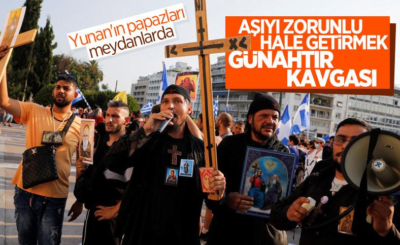 Yunanistan'da zorunlu aşı karşıtları sokağa indi