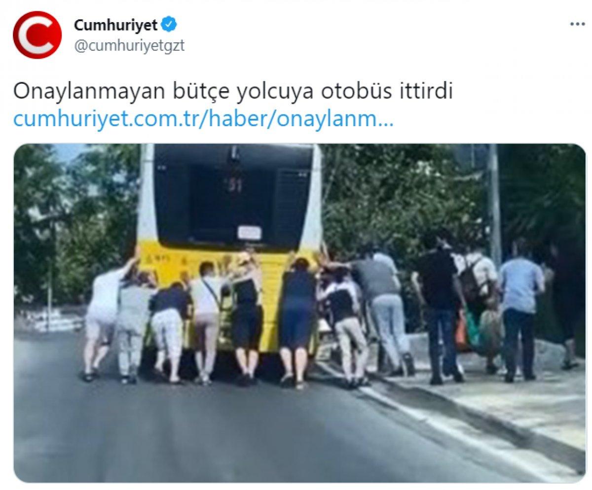Cumhuriyet gazetesinin güldüren otobüs arızası haberi #1