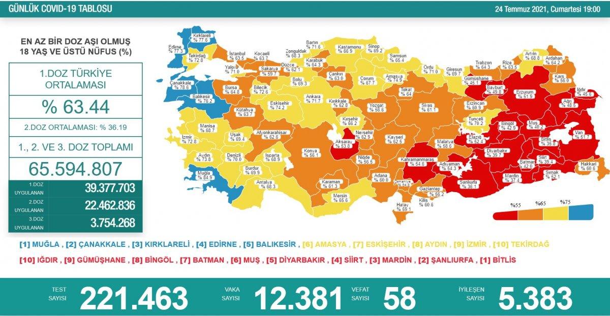 24 Temmuz Türkiye de koronavirüs tablosu  #1