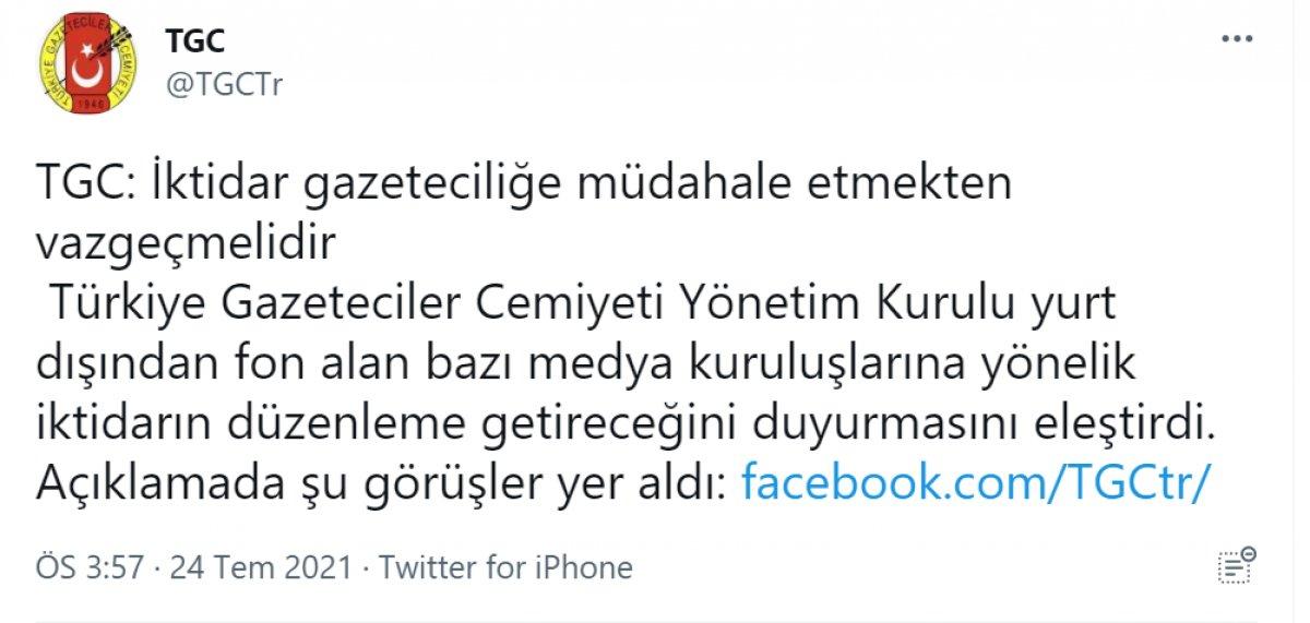 Türkiye Gazeteciler Cemiyeti, fondaş medyaya sahip çıktı #1