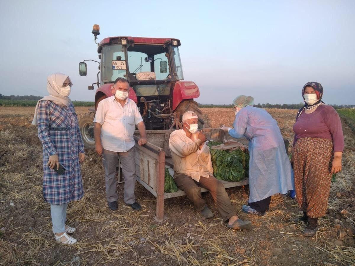 Sağlık ekipleri, tarım işçilerine tarlada aşı yaptı  #1