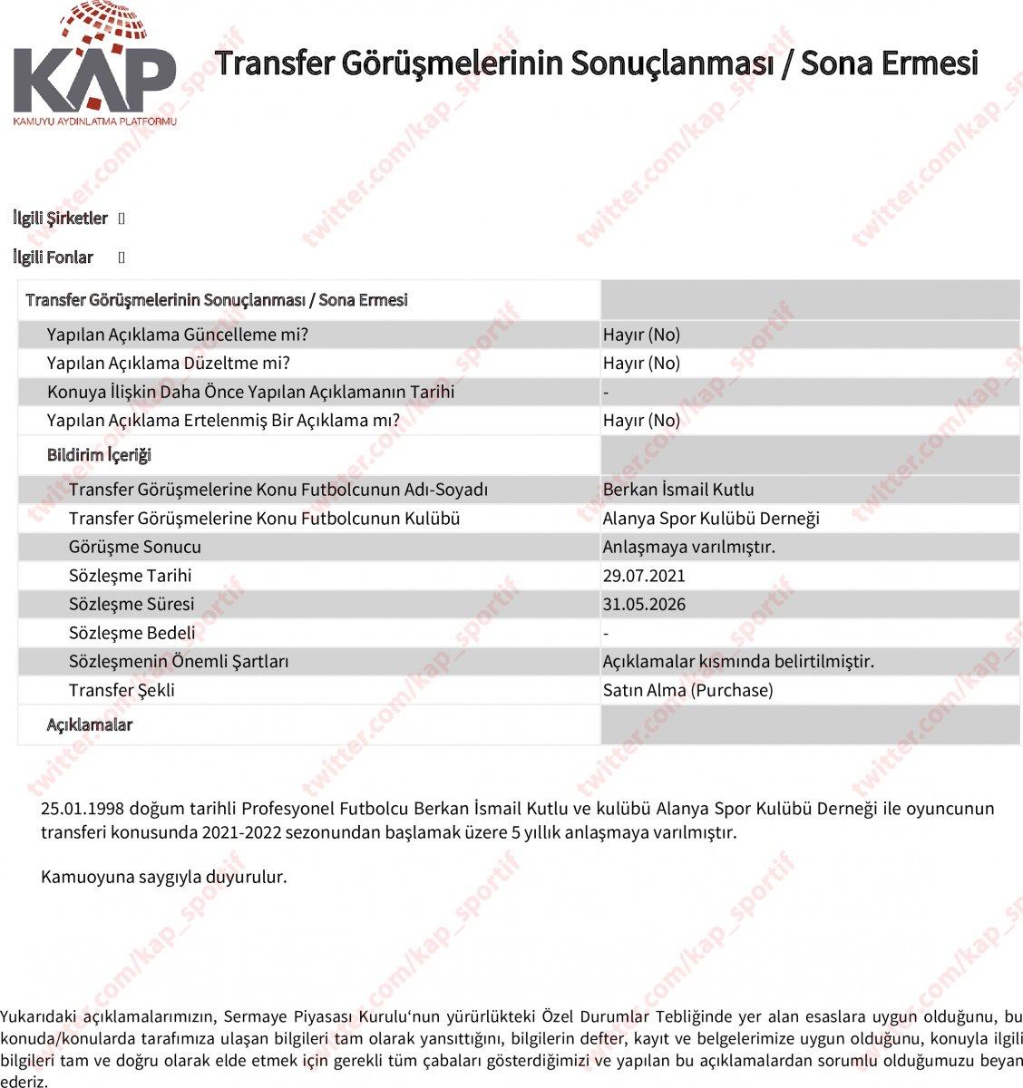 Galatasaray Berkan İsmail Kutlu yu borsaya bildirdi #4