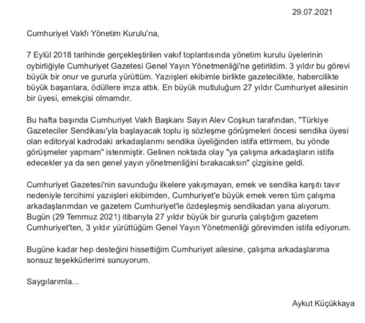 Cumhuriyet Genel Yayın Yönetmeni Aykut Küçükkaya dan istifa kararı #2