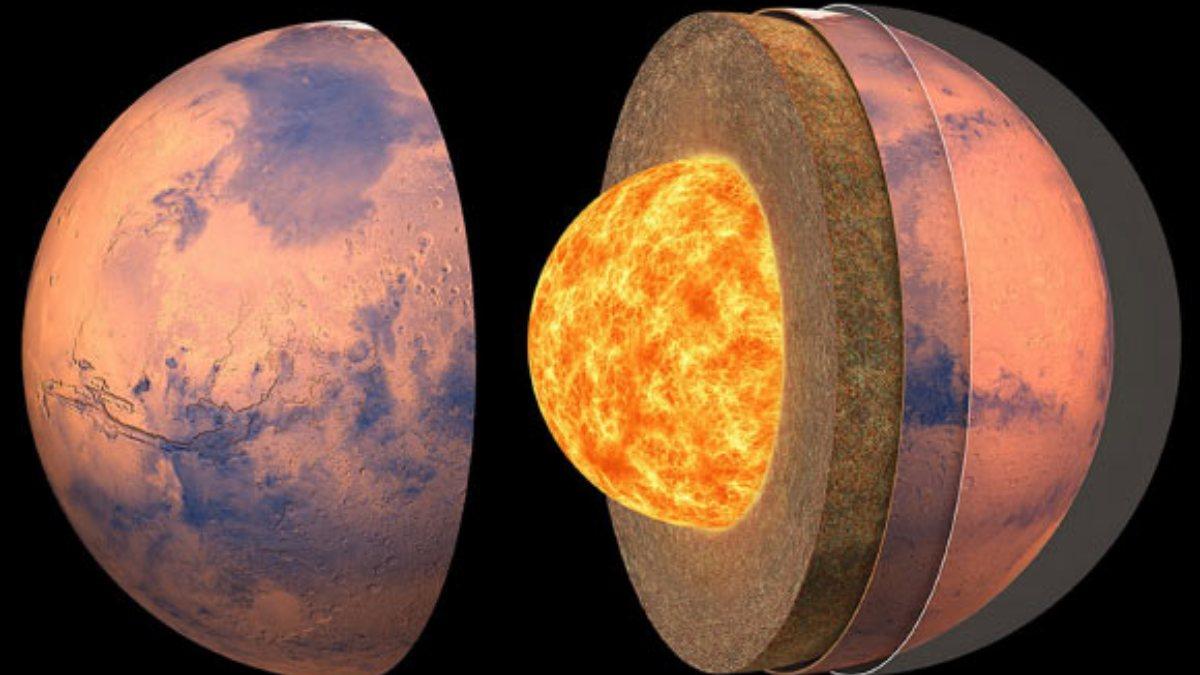 Mars kabuğunun derinliği ve çekirdeğinin boyutu ilk kez hesaplandı